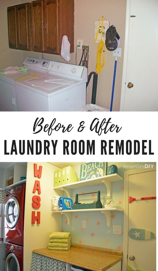 Before and after laundry room remodel-Smart Girls DIY